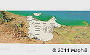 Shaded Relief Panoramic Map of Townsville, satellite outside