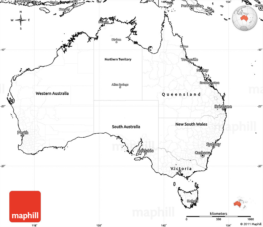 Blank Simple Map of Australia