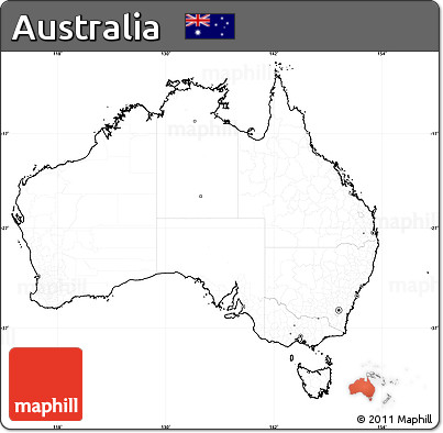 blank simple map of australia cropped outside