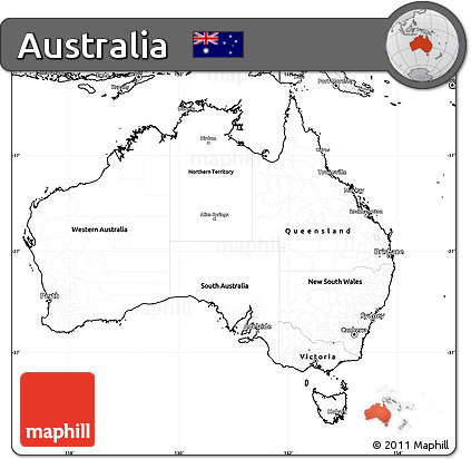 Free Blank Simple Map of Australia