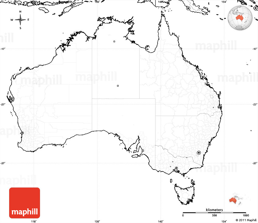 Blank Simple Map of Australia no labels