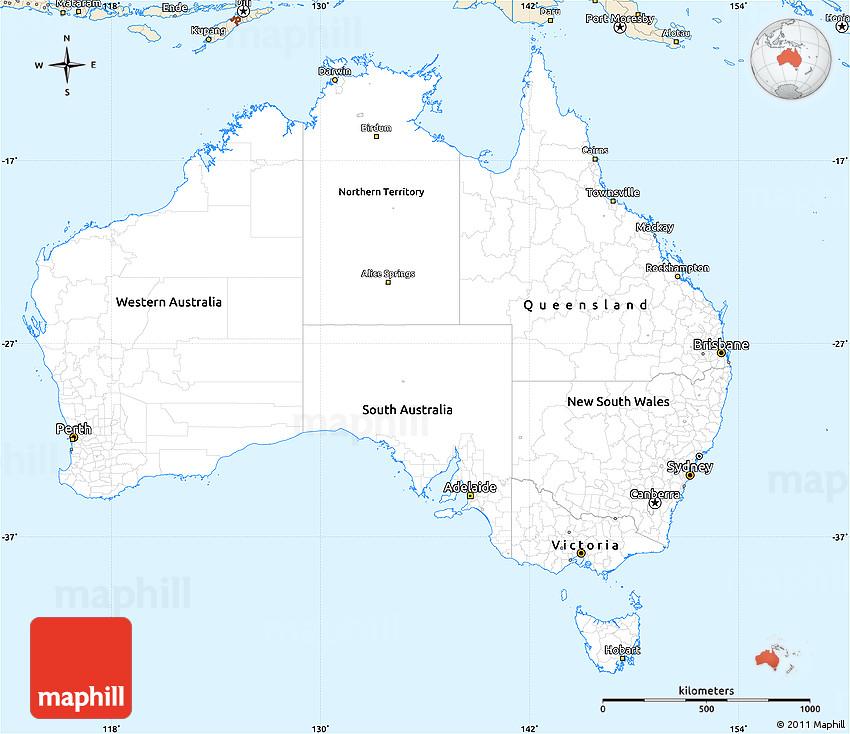 Australia Map Simple.Classic Style Simple Map Of Australia