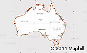 Classic Style Simple Map of Australia, cropped outside