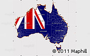 Flag Simple Map of Australia, flag aligned to the middle