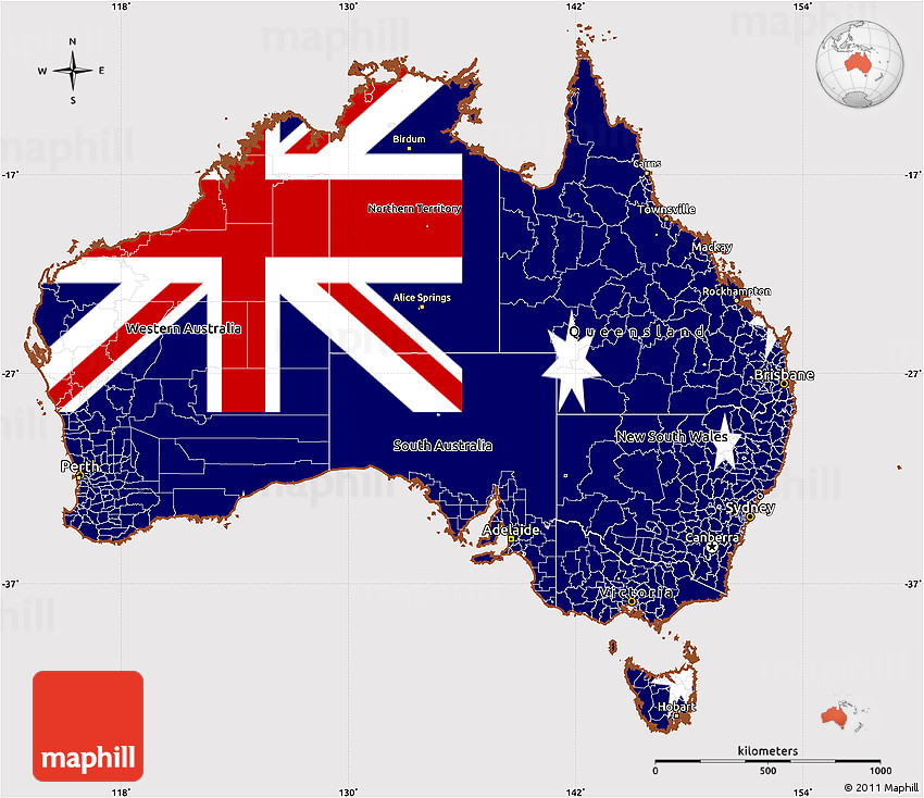 Australia Map With Flag.Flag Simple Map Of Australia