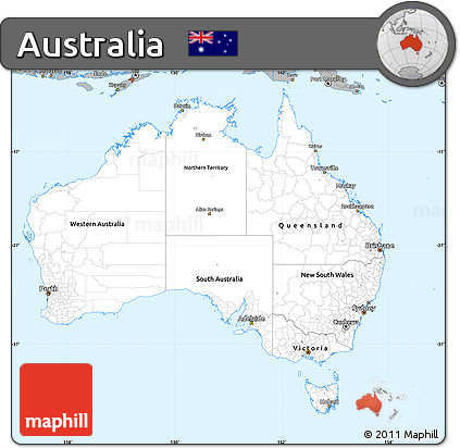 Gray Simple Map of Australia