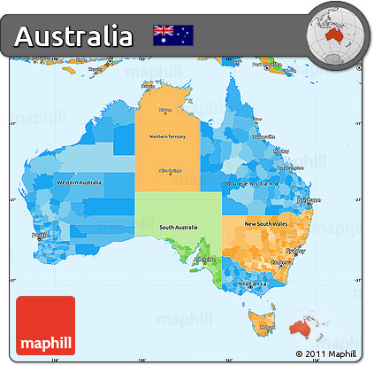 Free Political Simple Map Of Australia - Australia political map