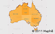 Political Shades Simple Map of Australia, cropped outside