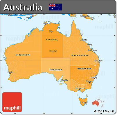 Free Political Shades Simple Map of Australia