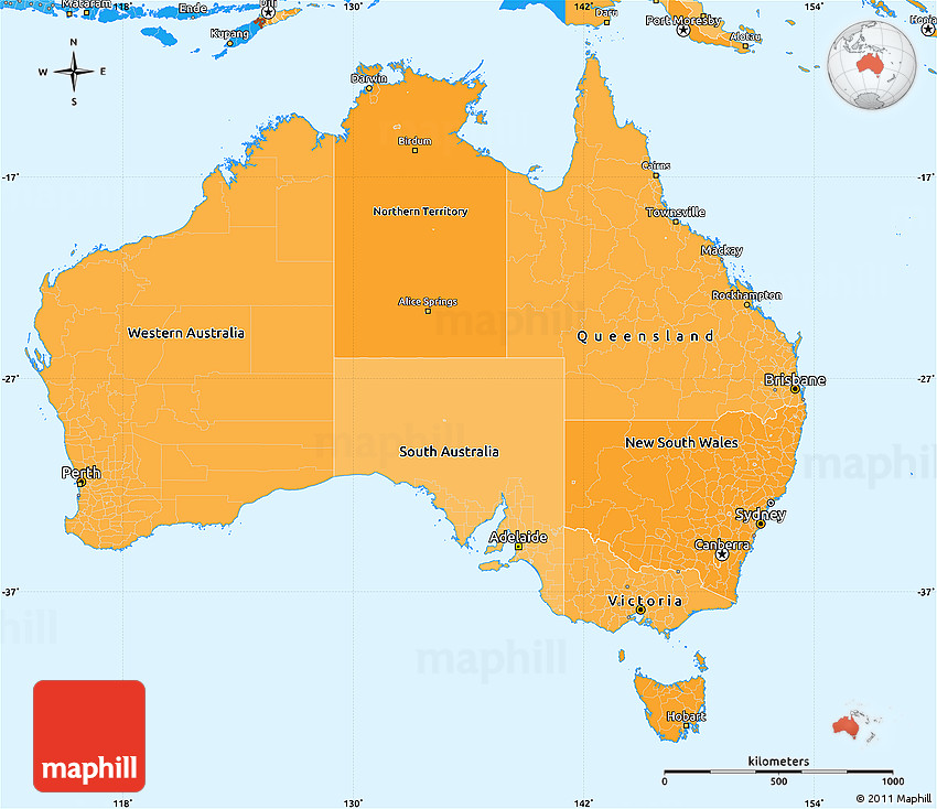 Australia Map Political.Political Shades Simple Map Of Australia
