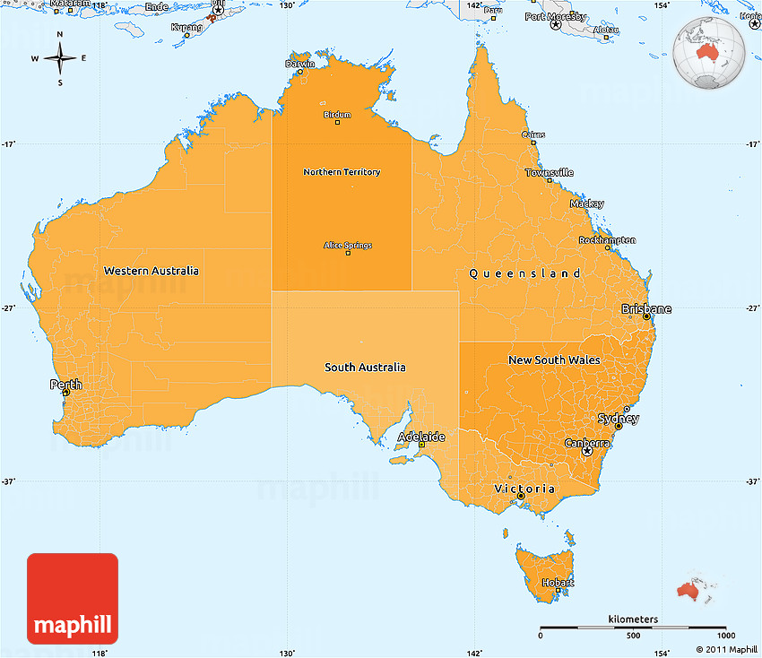 Political Shades Simple Map of Australia single color outside