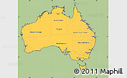 Savanna Style Simple Map of Australia, cropped outside