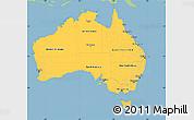 Savanna Style Simple Map of Australia, single color outside
