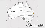 Silver Style Simple Map of Australia, cropped outside