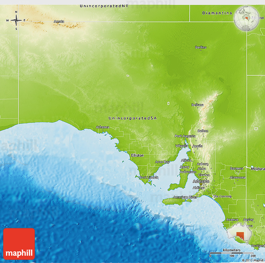 3d Map Of South Australia.Physical 3d Map Of South Australia