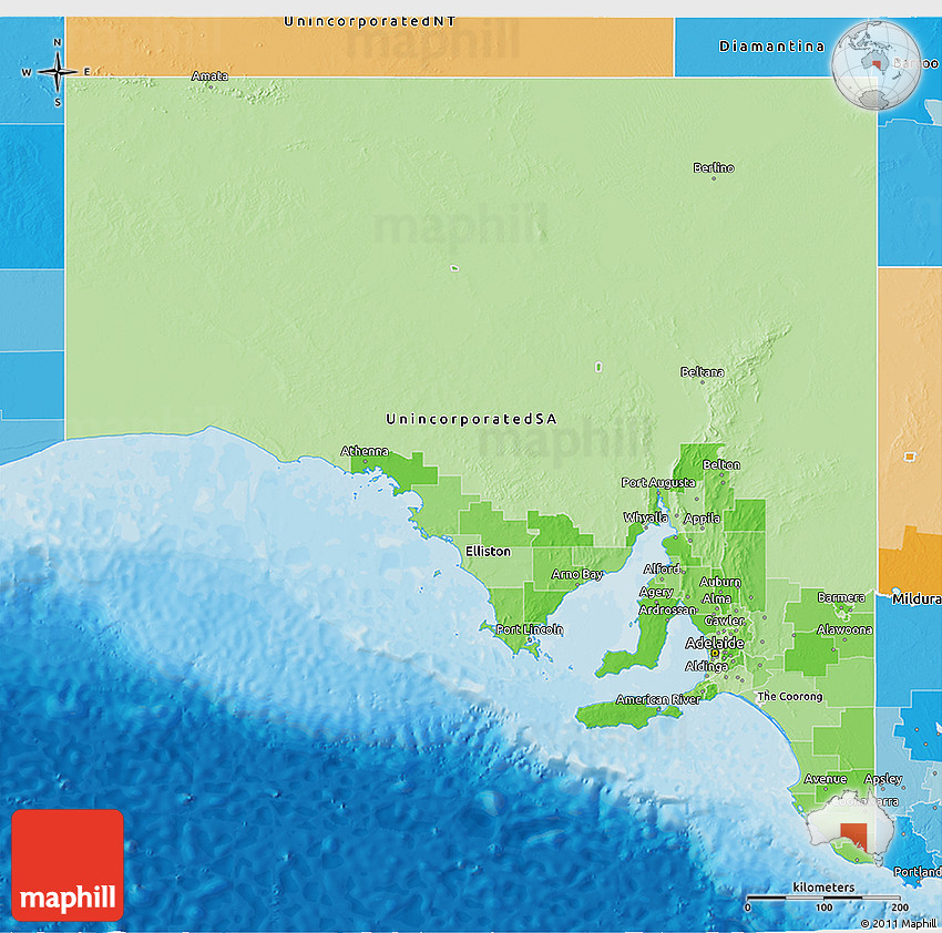 Map Of North East Australia.Political Shades 3d Map Of South Australia