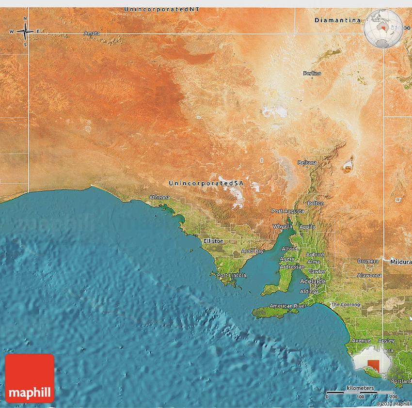 Australia Map Satellite.Satellite 3d Map Of South Australia