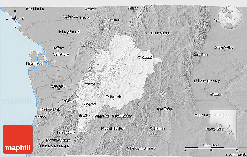 3d Map Of South Australia.Gray 3d Map Of Adelaide Hills
