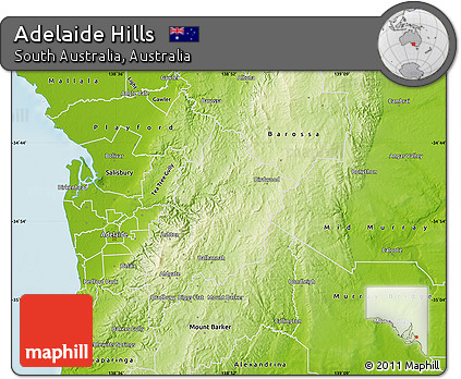 Free Physical Map of Adelaide Hills