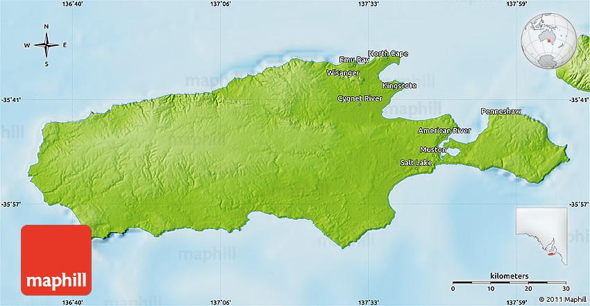 Map Of Australia Kangaroo Island.Physical Map Of Kangaroo Island