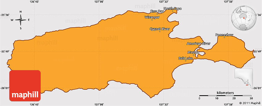 Kangaroo Island Australia Map.Political Simple Map Of Kangaroo Island Cropped Outside
