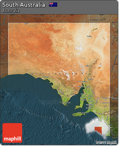 Free Satellite Map of South Australia darken