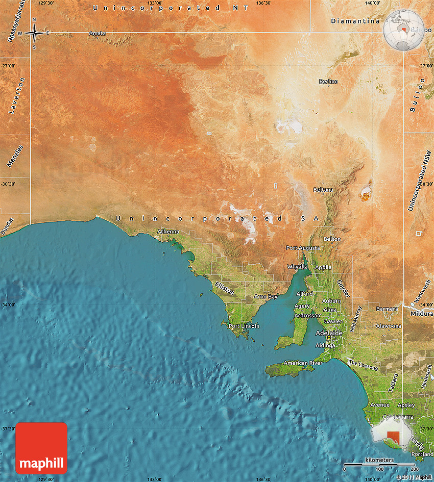 Satellite Map of South Australia