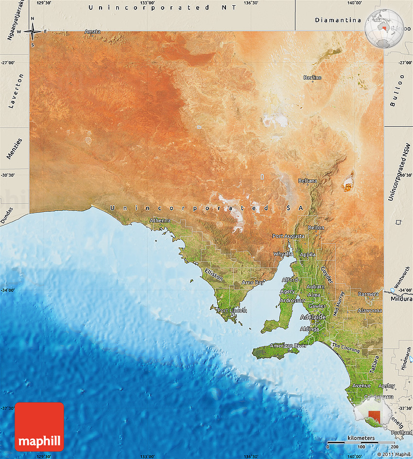 Satellite Map of South Australia shaded relief outside