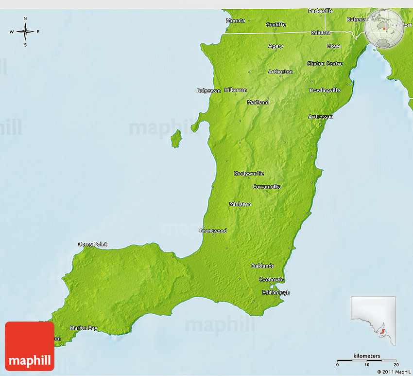 3d Map Of South Australia.Physical 3d Map Of Yorke Peninsula