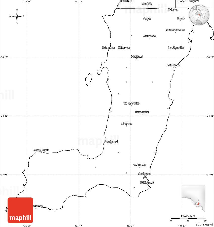 Blank Simple Map of Yorke Peninsula