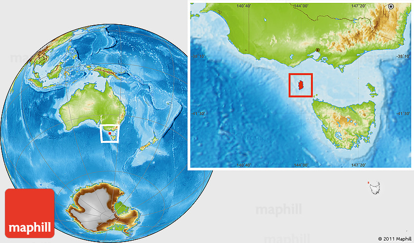 Map Of Australia King Island.Physical Location Map Of King Island