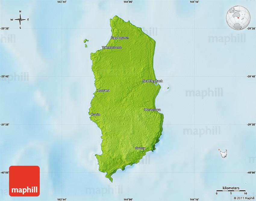Map Of Australia King Island.Physical Map Of King Island