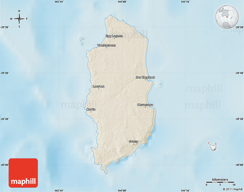 King Island Australia  city photos gallery : Shaded Relief Map of King Island