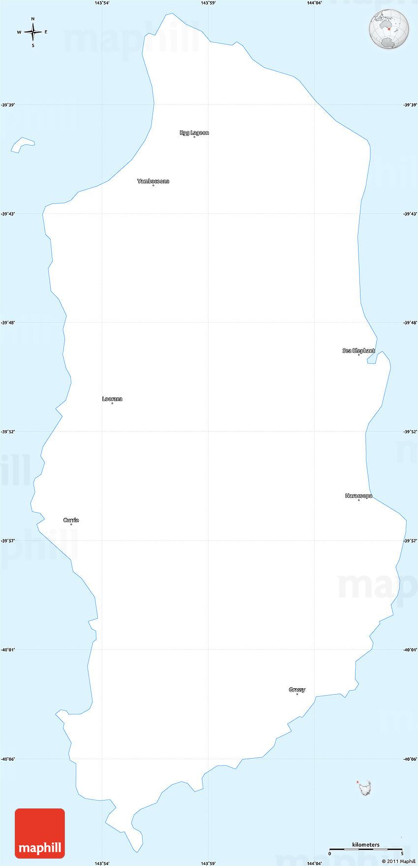 Map Of Australia King Island.Gray Simple Map Of King Island