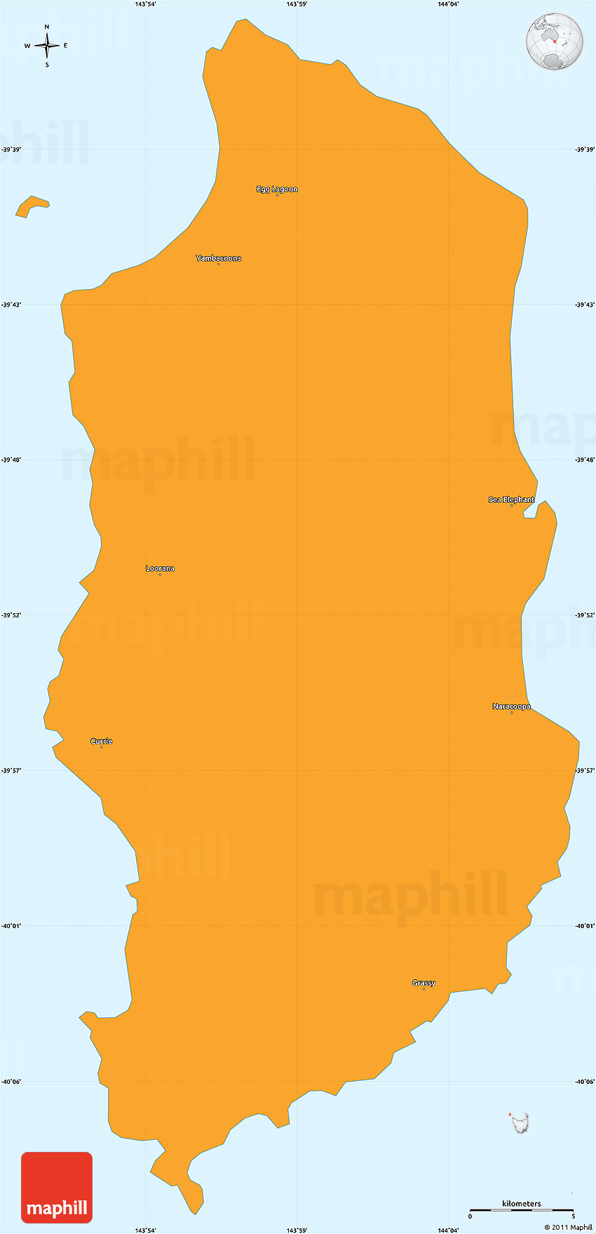 Map Of Australia King Island.Political Simple Map Of King Island