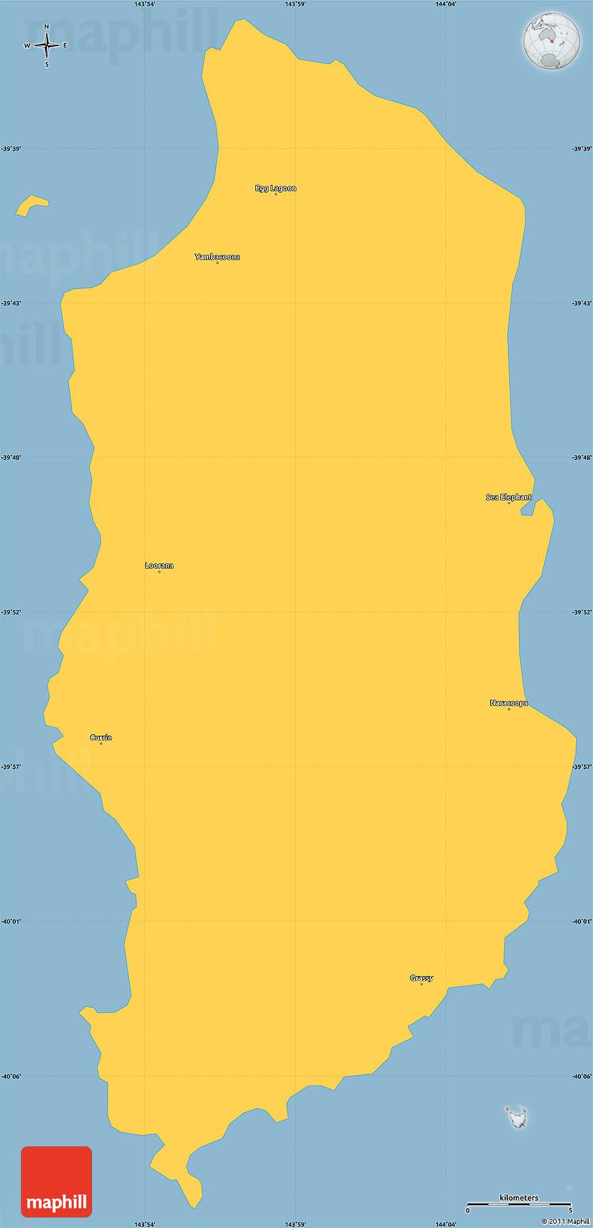 Map Of Australia King Island.Savanna Style Simple Map Of King Island