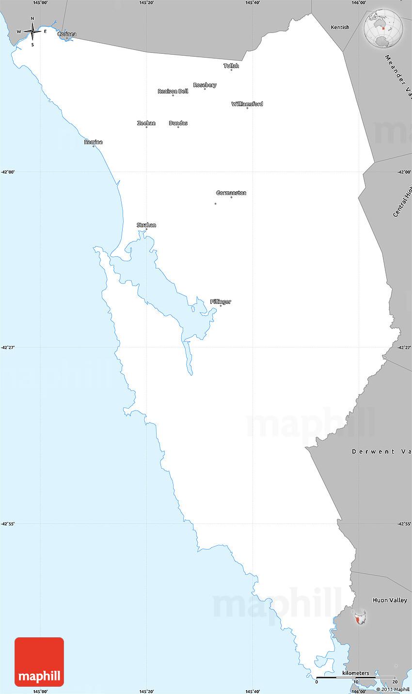 Map Of West Coast Australia.Gray Simple Map Of West Coast