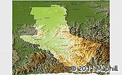 Physical Panoramic Map of Delatite, darken