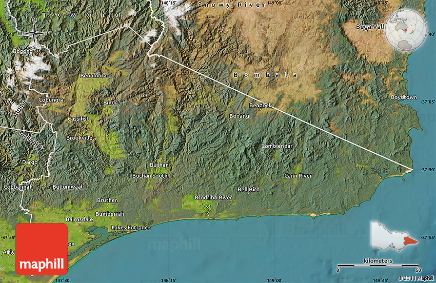 satellite map of east gippsland