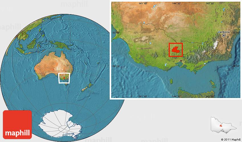 Satellite Location Map of Greater Bendigo