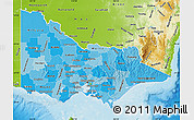 Political Shades Map of Victoria, physical outside