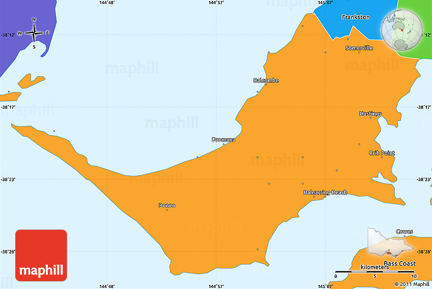 political simple map of mornington peninsula