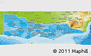 Political Shades Panoramic Map of Victoria, physical outside