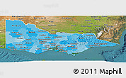 Political Shades Panoramic Map of Victoria, satellite outside
