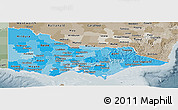 Political Shades Panoramic Map of Victoria, semi-desaturated