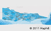 Political Shades Panoramic Map of Victoria, single color outside