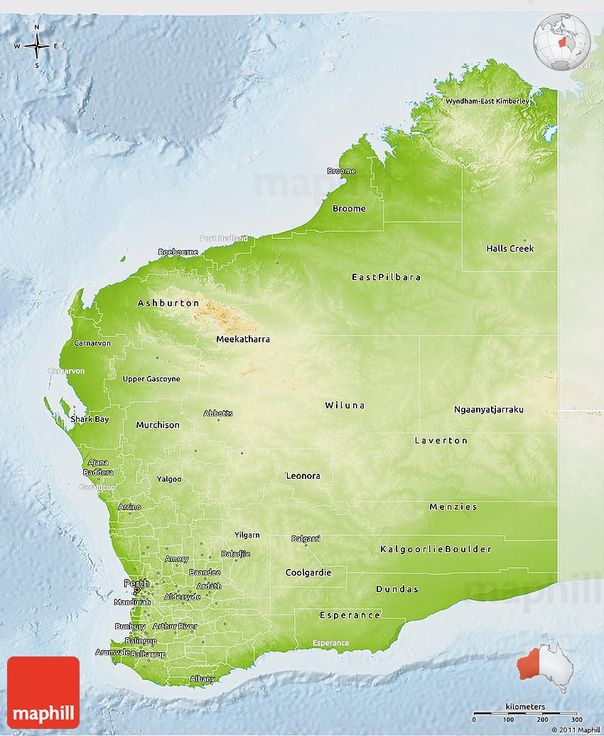 Physical 3D Map of Western Australia lighten