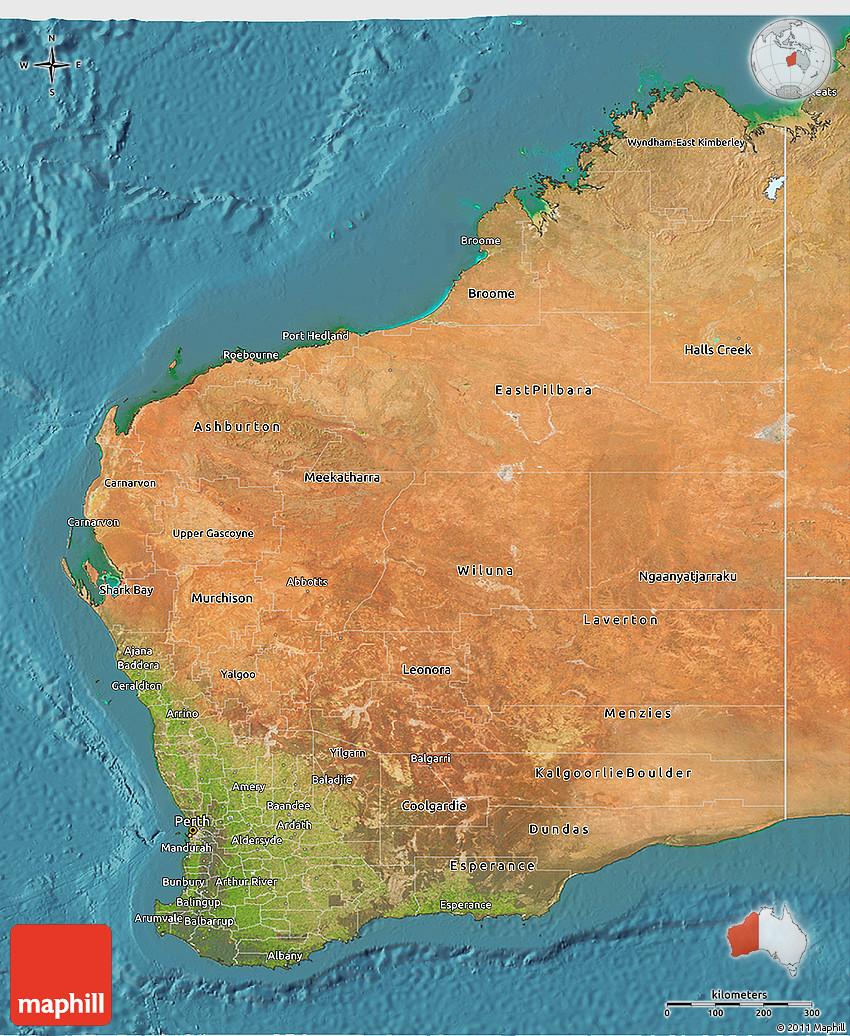 Australia Map Satellite.Satellite 3d Map Of Western Australia
