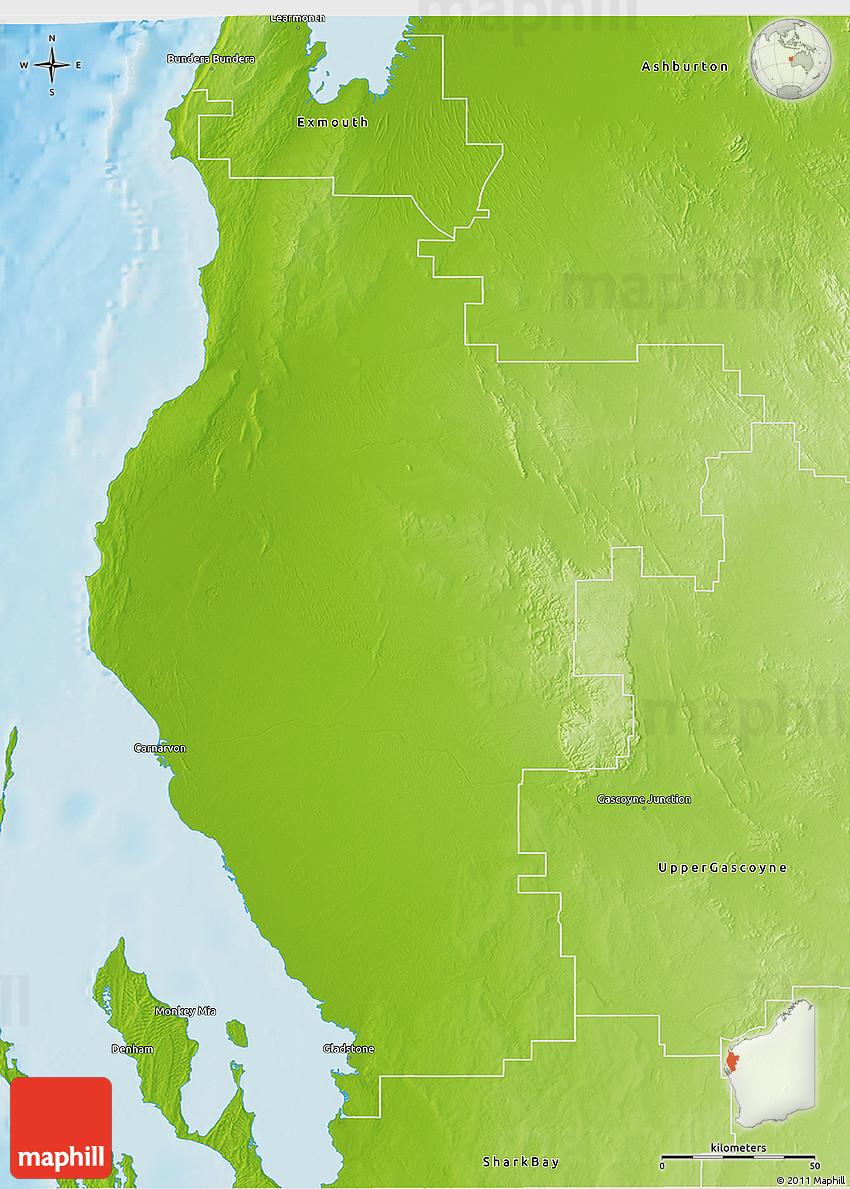 Physical 3D Map of Carnarvon