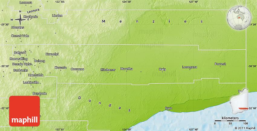 Australia Map Kalgoorlie.Physical Map Of Kalgoorlie Boulder